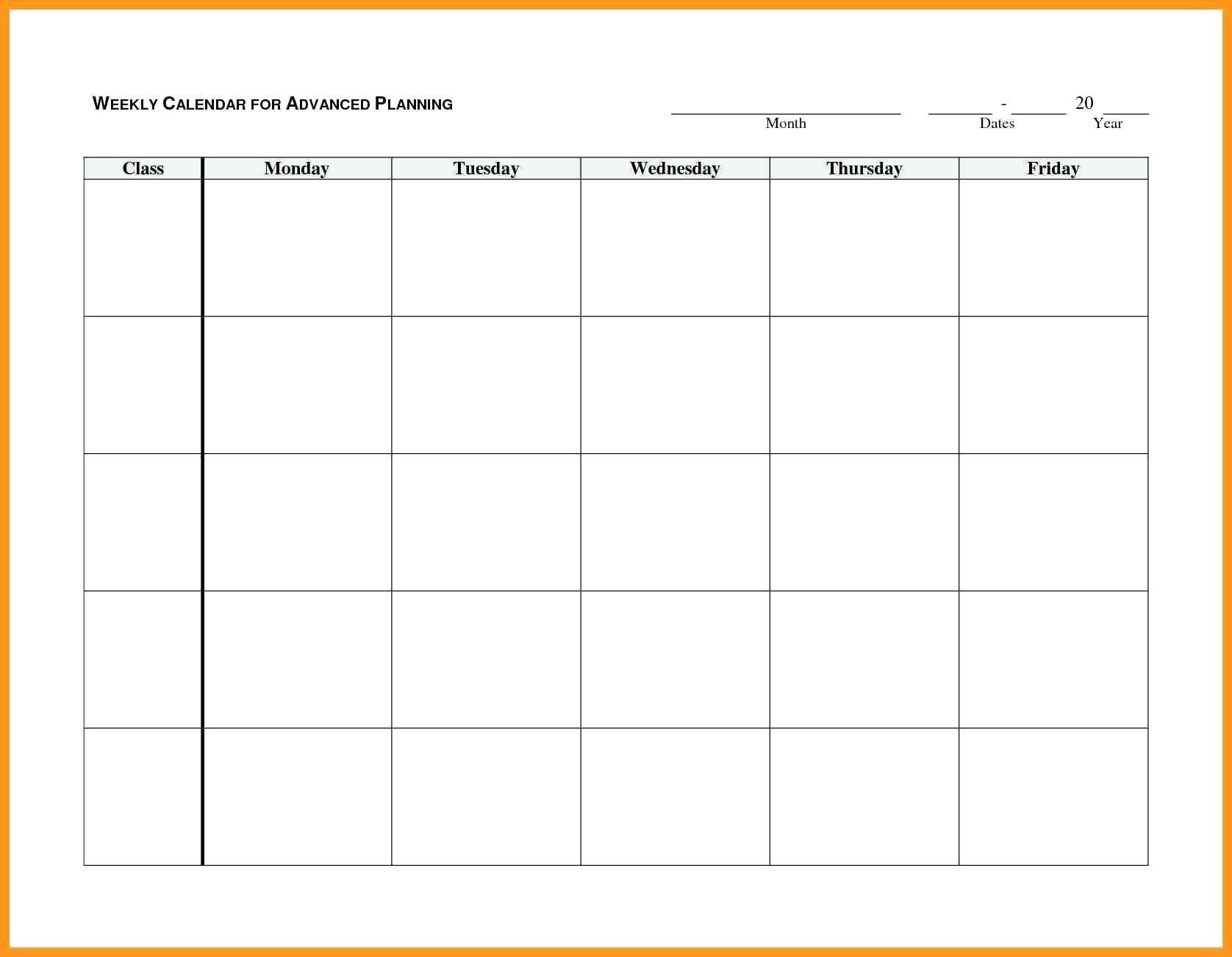 Blank Weekly Ndar Monday Through Friday Template Word Free Printable regarding Monday Through Friday Blank Calendar Printable
