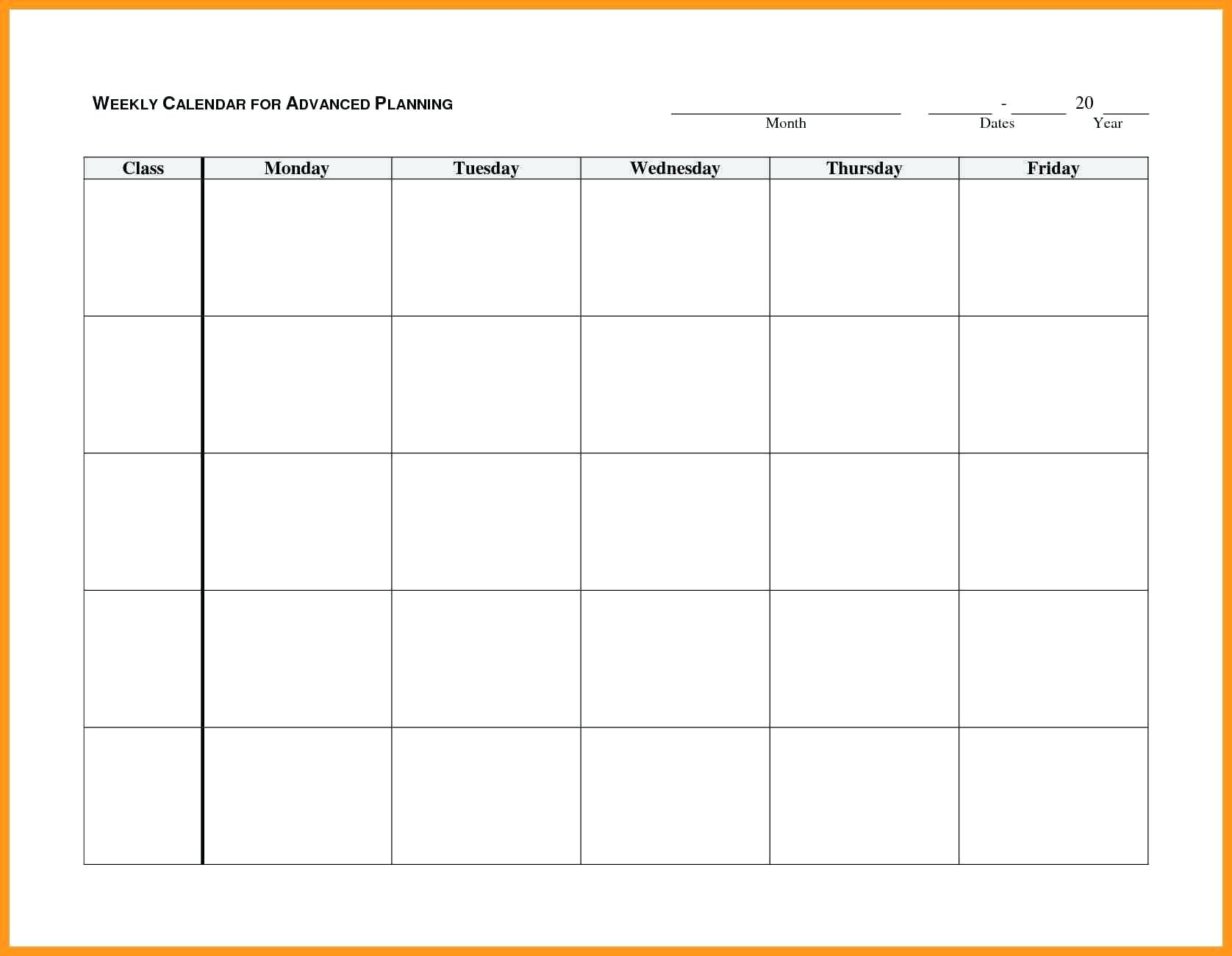 Blank Weekly Ndar Monday Through Friday Template Word Free Printable with Blank Calendar Template Monday Friday