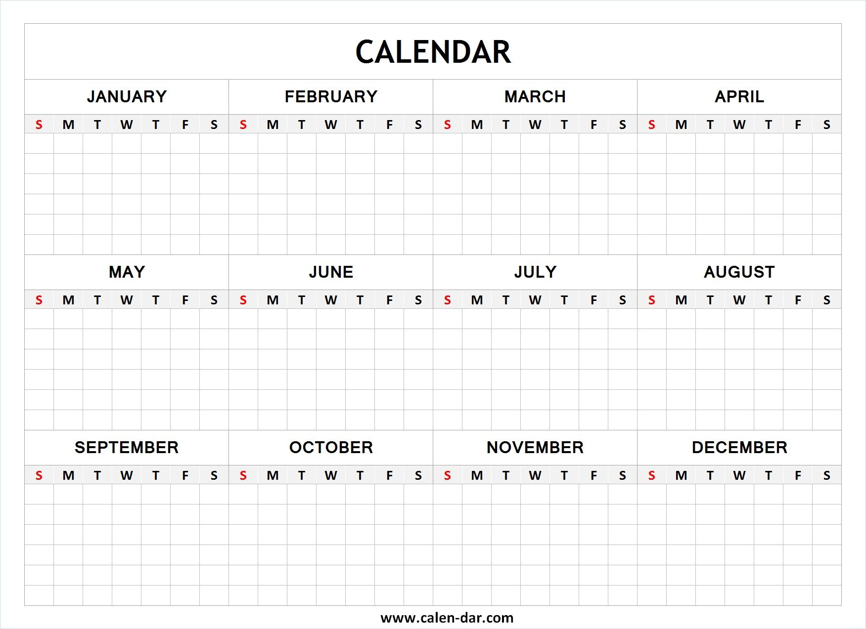 Blank Year Calendar | Blank Calendar | Printable Yearly Calendar regarding Blank Printable Calendars Yearly