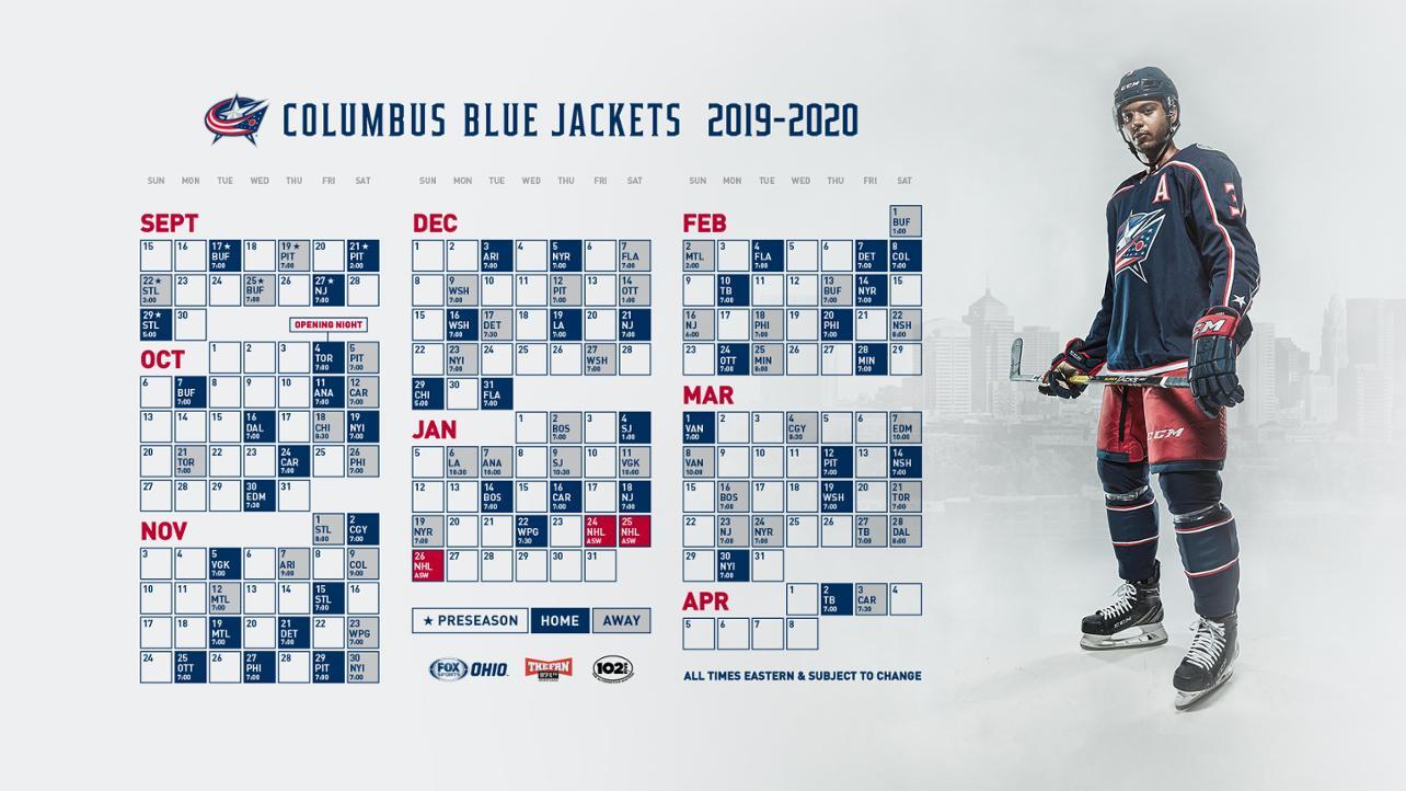 Blue Jackets Announce 2019-20 Regular Season Schedule regarding Complete Nashville Predators 2019-2020 Schedule