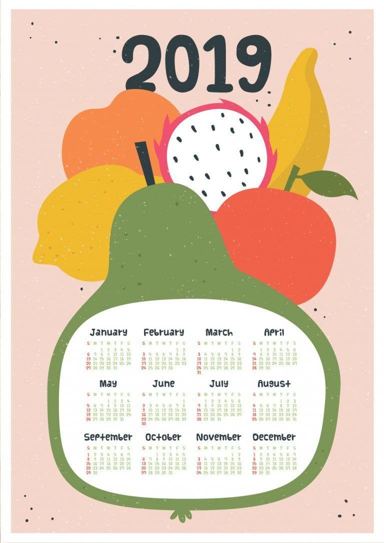 Botanical Fruit Printable 2019 Calendar | ปฏิทิน2019 | Calendar 2019 within Homeschool Year At A Glance 2019-2020 Botanical Calendar Printable Free