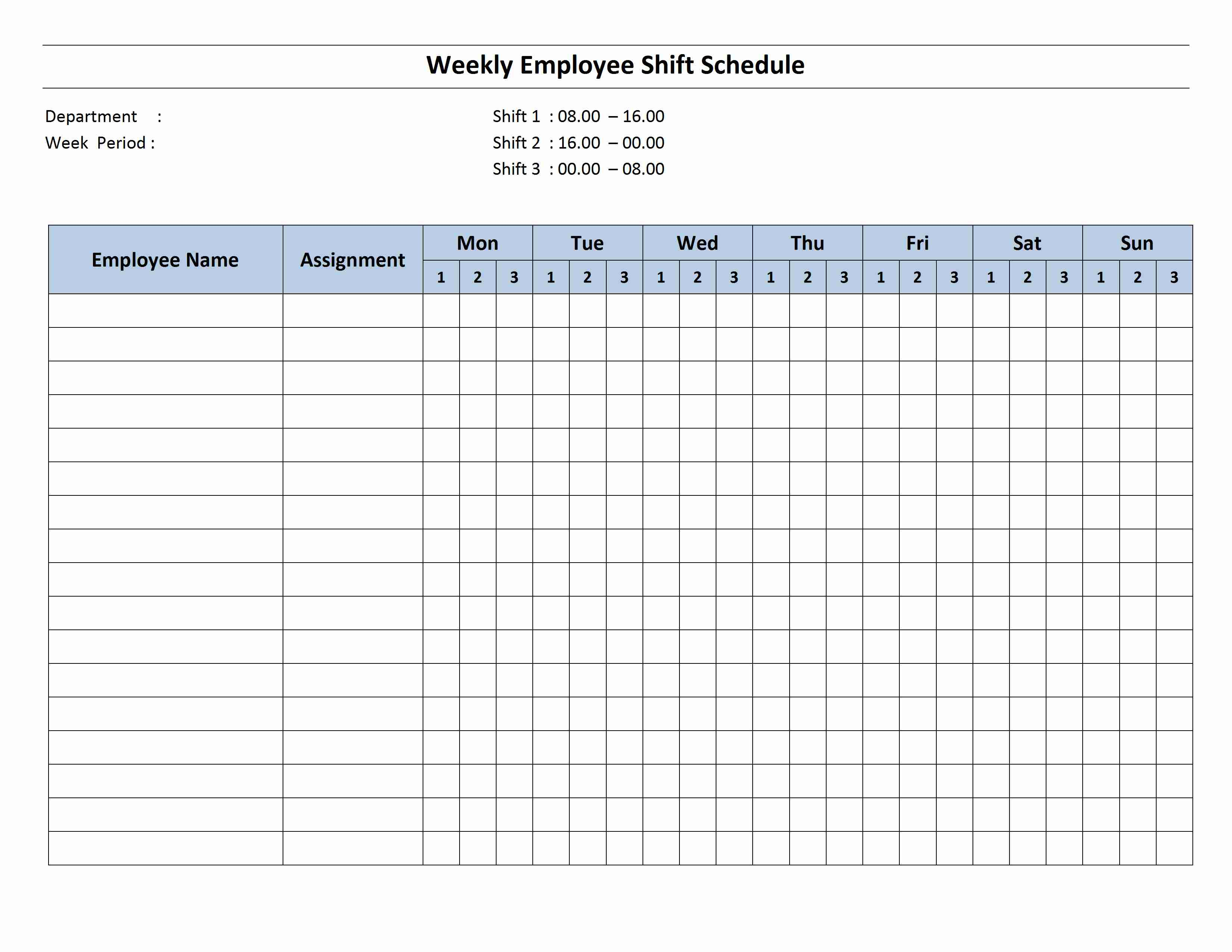 Break Schedule Emplate Free Weekly Hour Shift Employee Pdf Monthly with regard to Blank Monthly Holiday Sheet Template