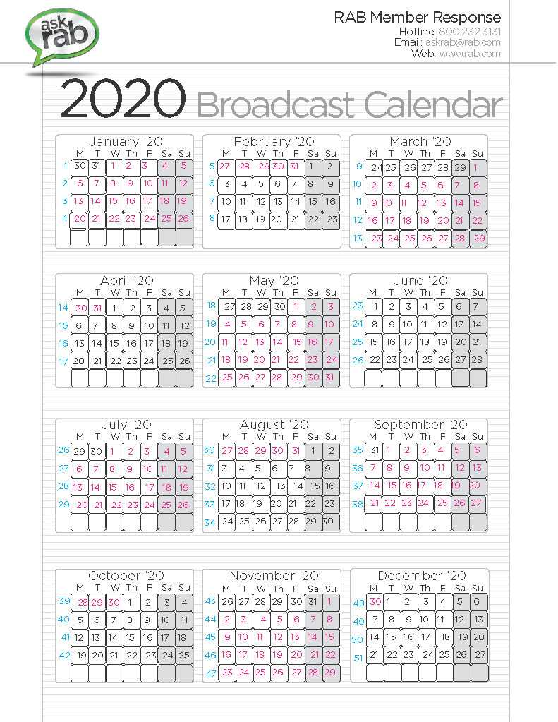 Broadcast Calendars | Rab inside 2020 Calendar Sunday Through Saturday
