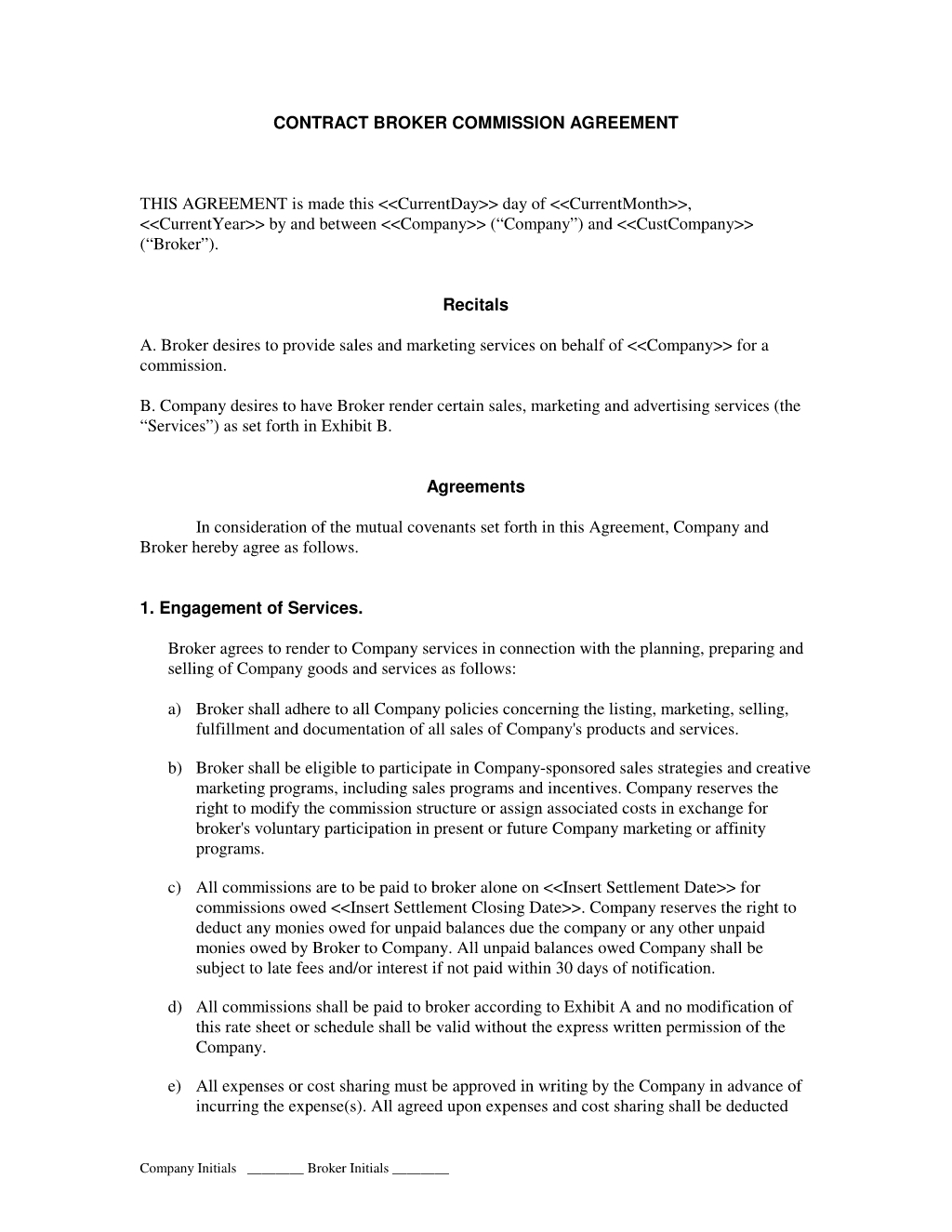 Broker Commission Sales Agreement : Advertising And Marketing intended for Free Printable Blank Templates For Paid And Owed