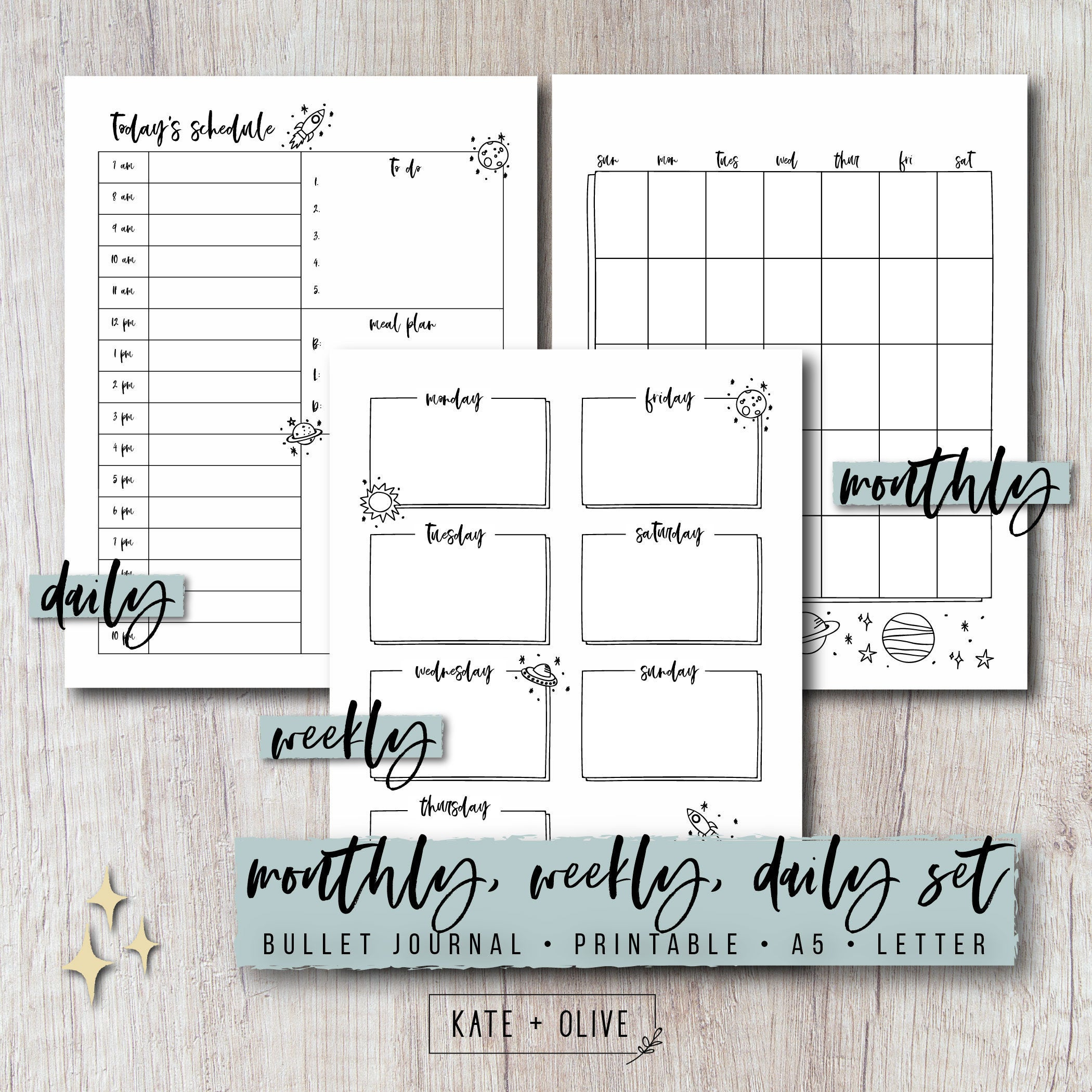 Bullet Journal Printable Planner Set - Monthly, Weekly, Daily Inserts |  Space | Undated Template | Letter & A5 Size Pdf | Instant Download pertaining to Doodle Monthly Planner Printer Templates