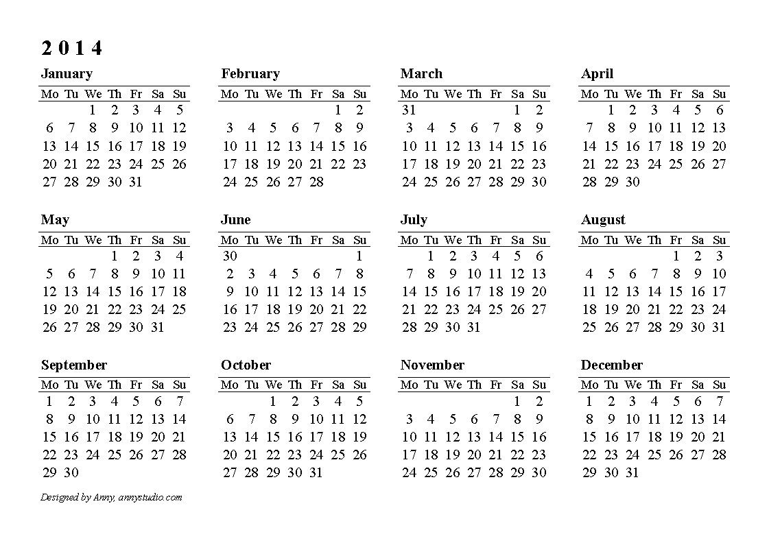 Calendar 2014 Only Printable Yearly |  2013 Printable Page Tags pertaining to 2014 12 Month Blank Calendar