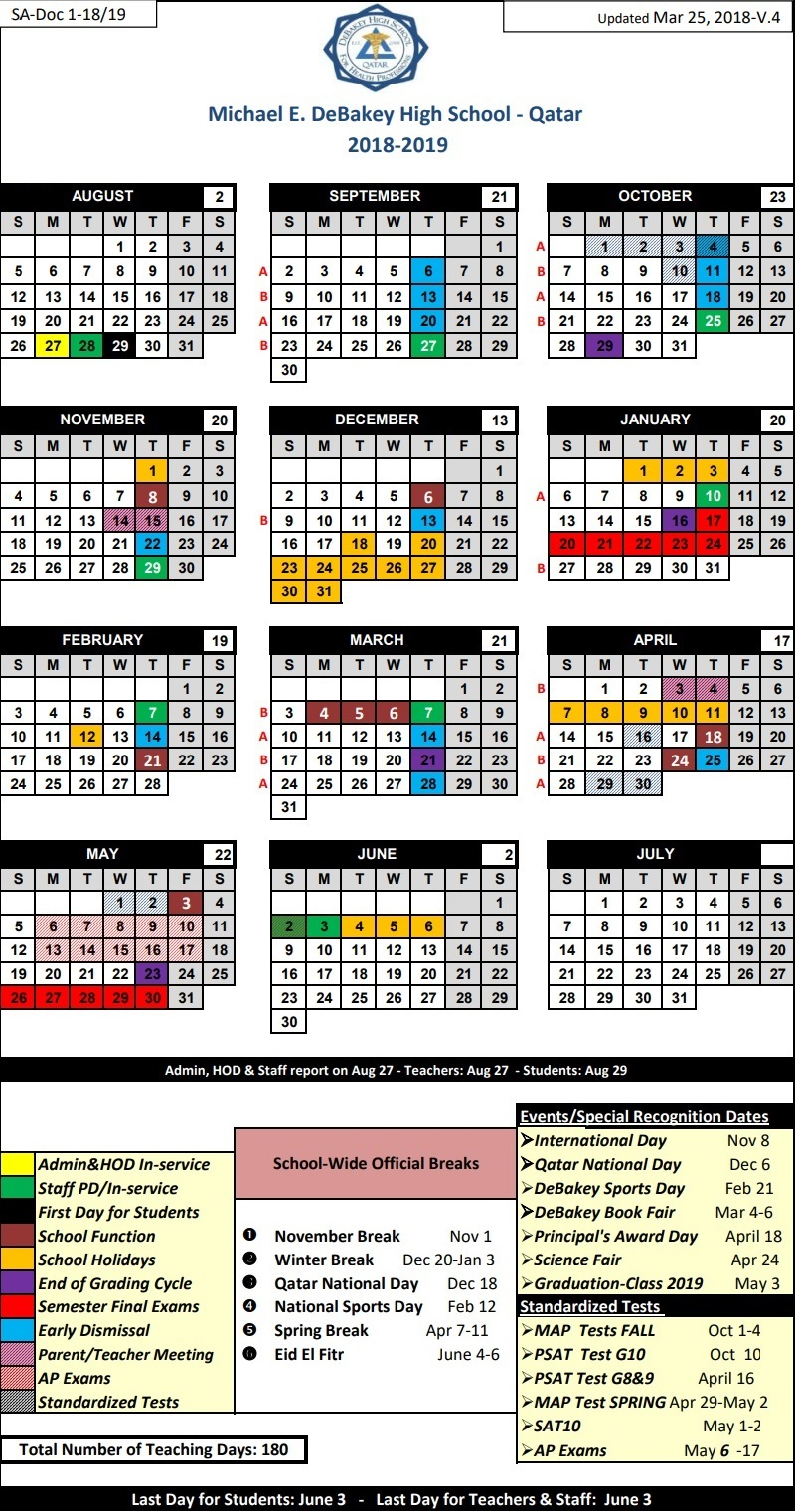 Calendar 2018 – 2019 | Michael E. Debakey High School - Qatar with School Year Calendar 2019-2020 Michael E. Debakey High