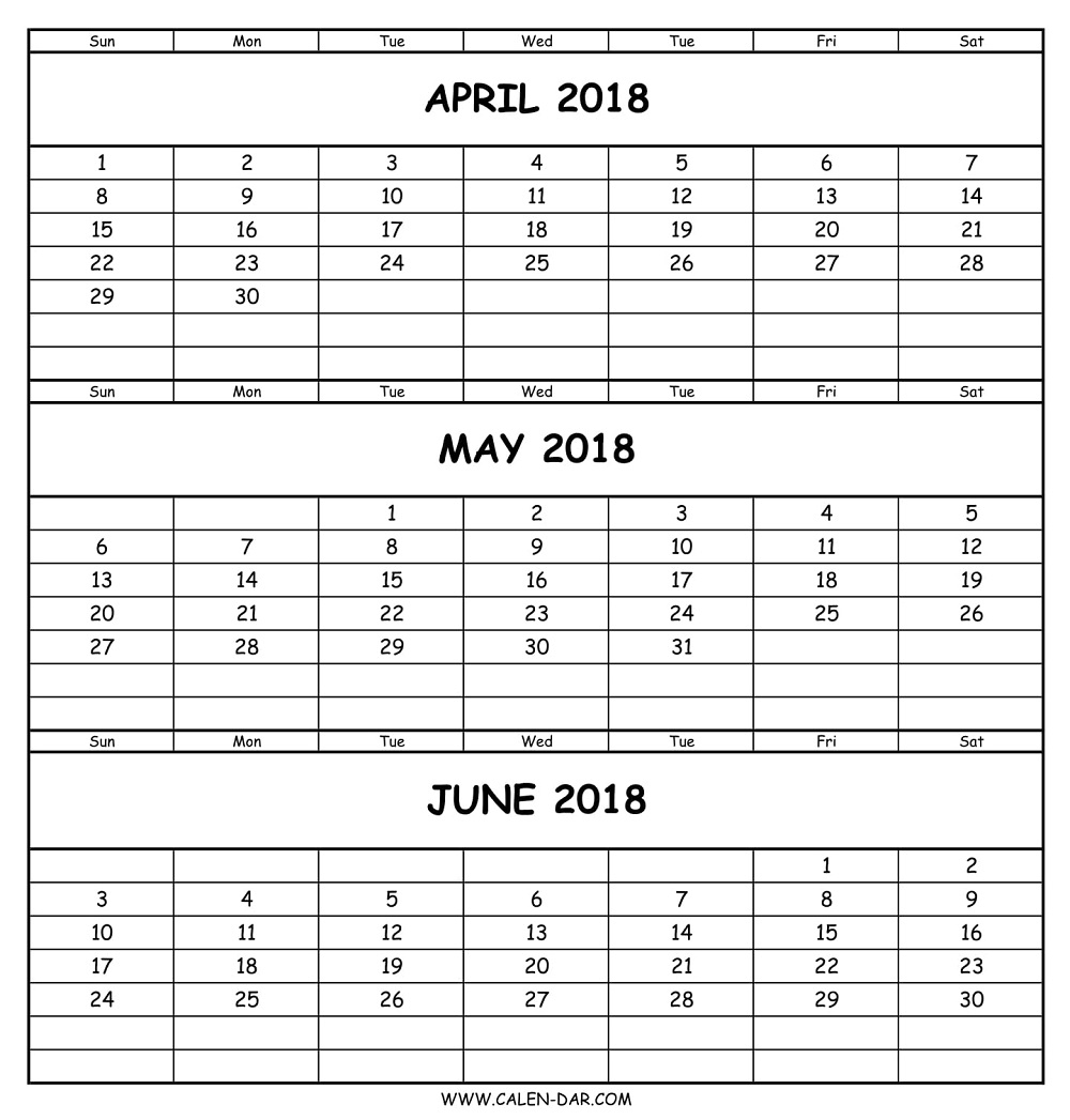 Calendar 2018 April May June | April To June Printable Template Free intended for Printable 3 Month April May June Calendar Template