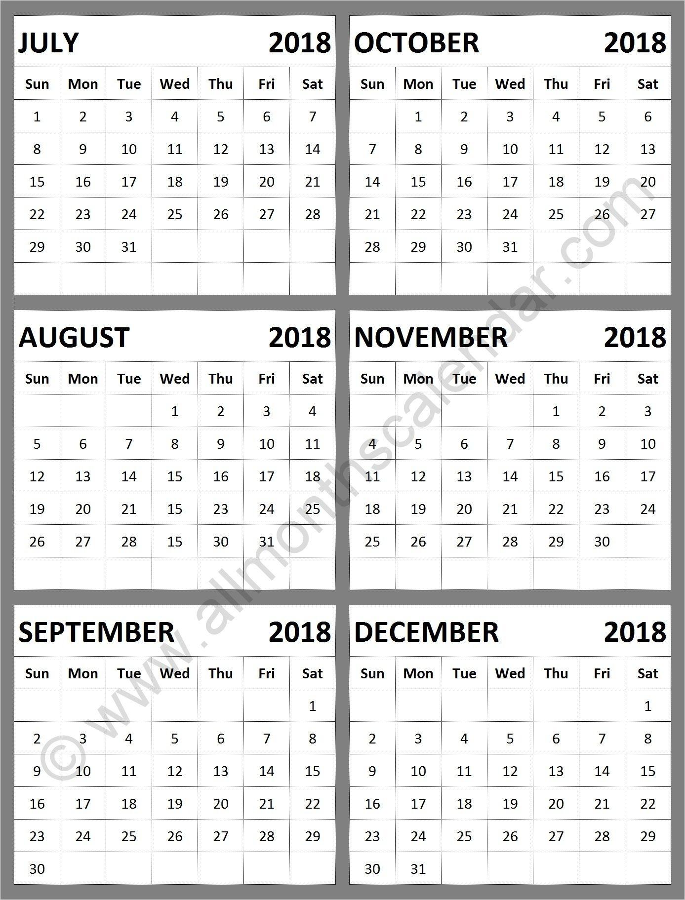 Calendar 2018 August Through December   Calendar Format Example with Calendar For October Thru December 2019