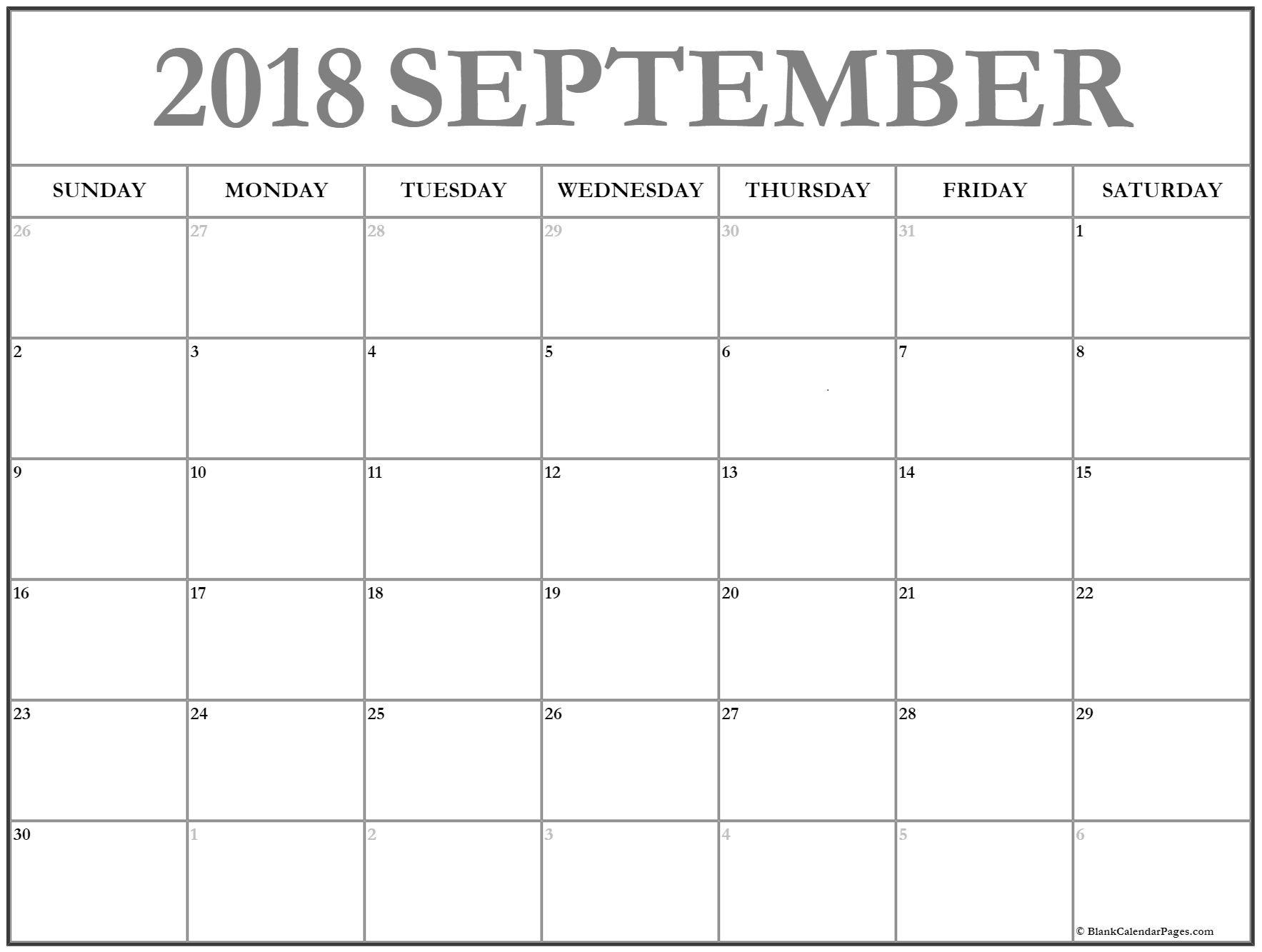 Calendar 2018 #september September Calendar 2018 #printable And Free intended for Blank Printable September Calendar