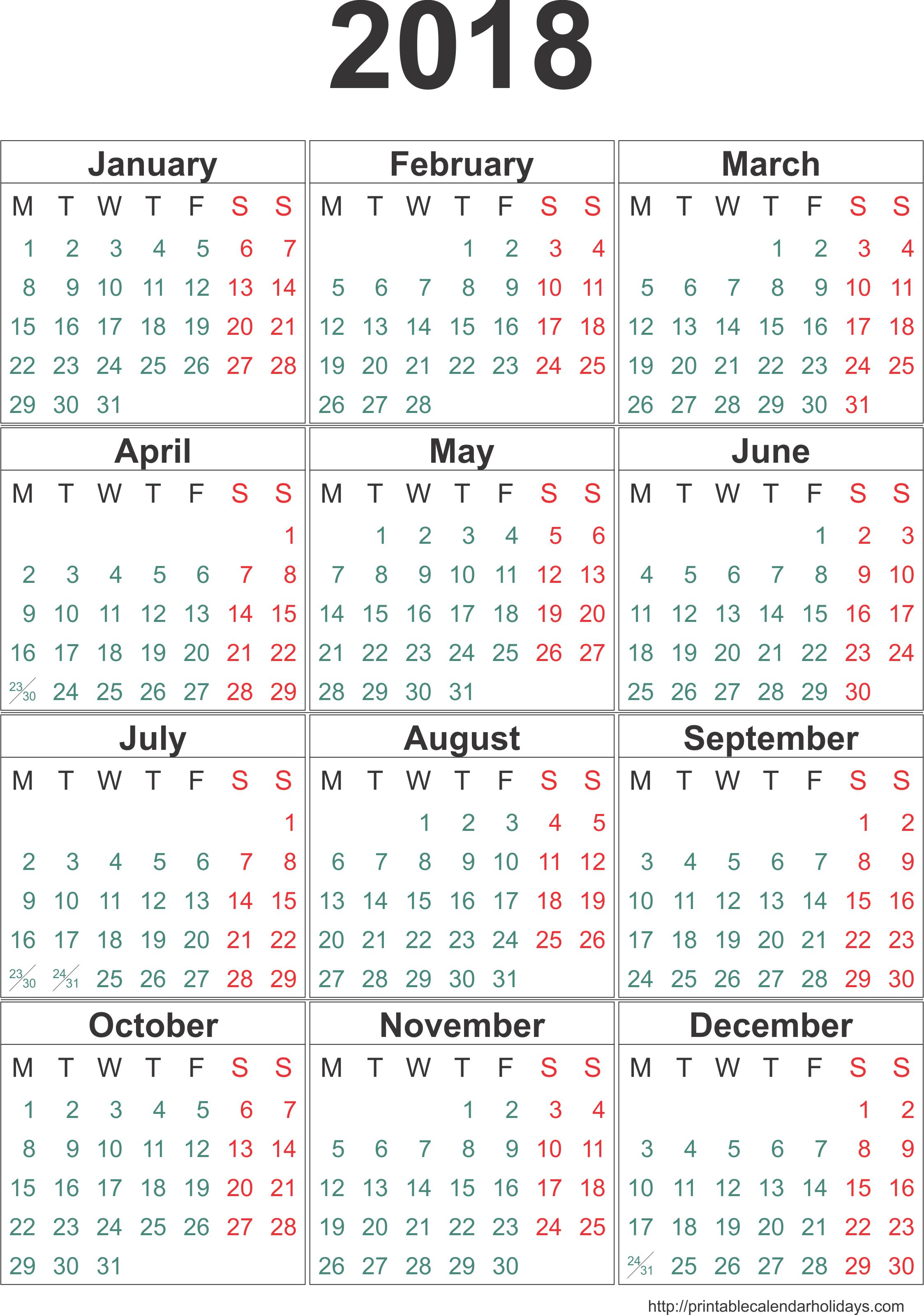 Calendar 2018 Template (12 Months/page) - Printable 2017 2018 2019 inside 12 Month Calendar Template Printable