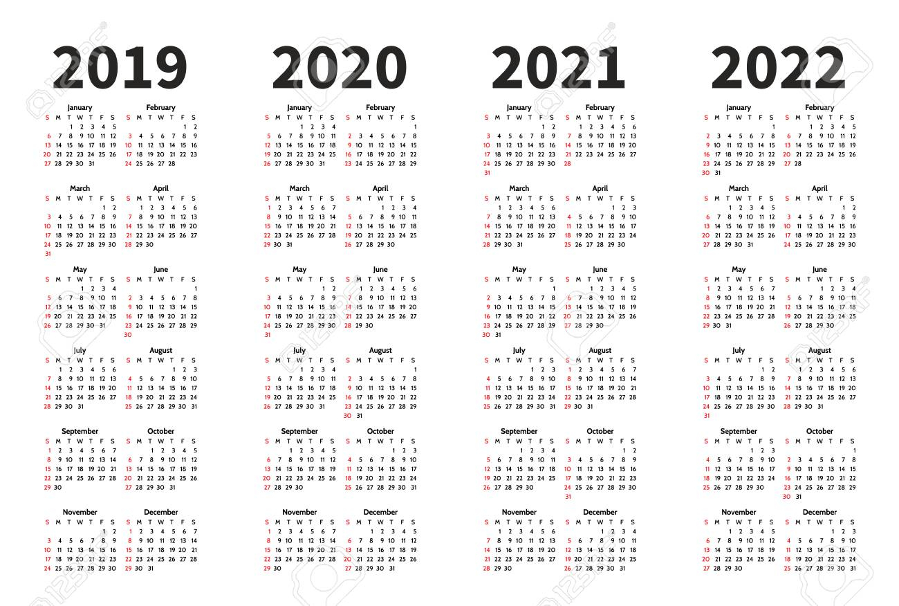 Calendar 2019, 2020, 2021 And 2022 Year Vector Design Template in Free Printable 3 Year Calendar 2019 2020 2021