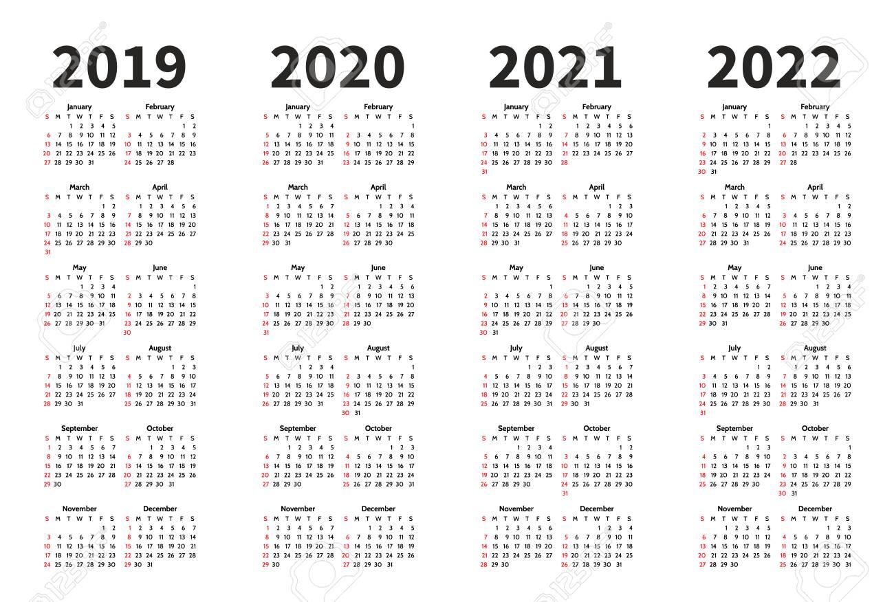 Calendar 2019, 2020, 2021 And 2022 Year Vector Design Template regarding Calendar 2019 2020 With Boxes