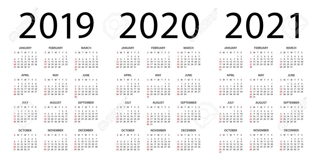 Calendar 2019 2020 2021 Year - Vector Illustration. Week Starts.. throughout Free Printable 3 Year Calendar 2019 2020 2021