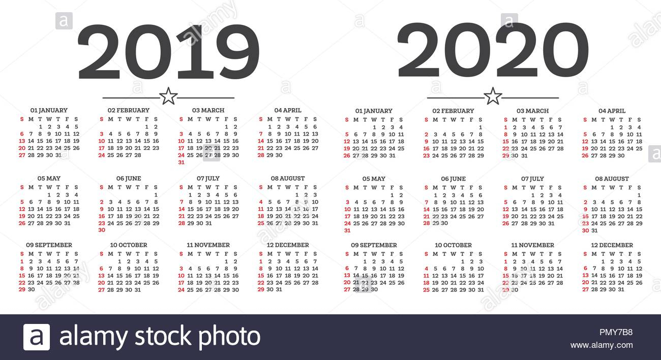 Calendar 2019 2020 Isolated On White Background. Week Starts From with regard to Calendar For Rest Of 2019 And 2020