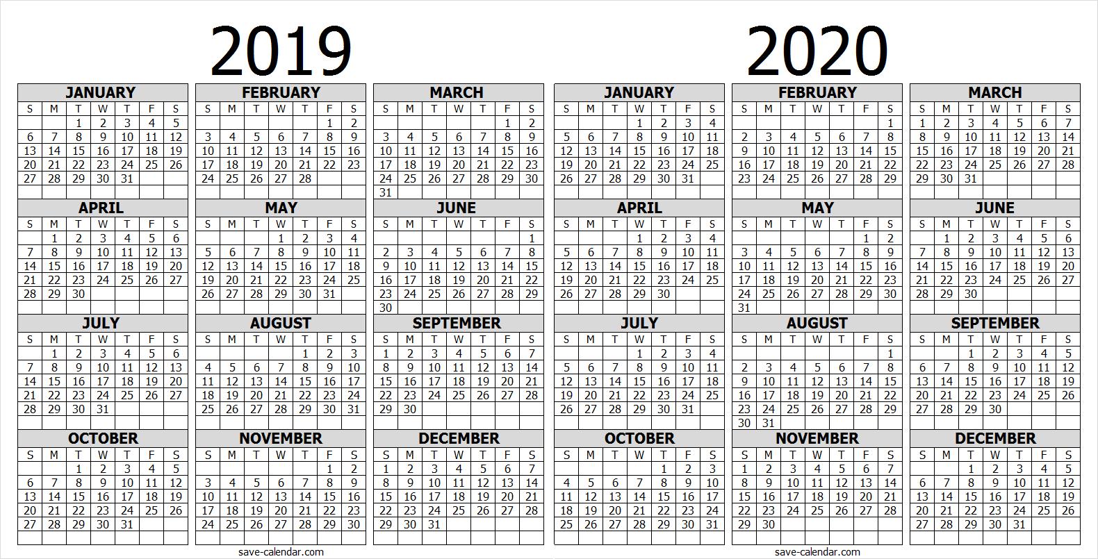 Calendar 2019 2020 One Page | 2019 Calendar | Free Calendar in 2020 Calendar Printable One Page