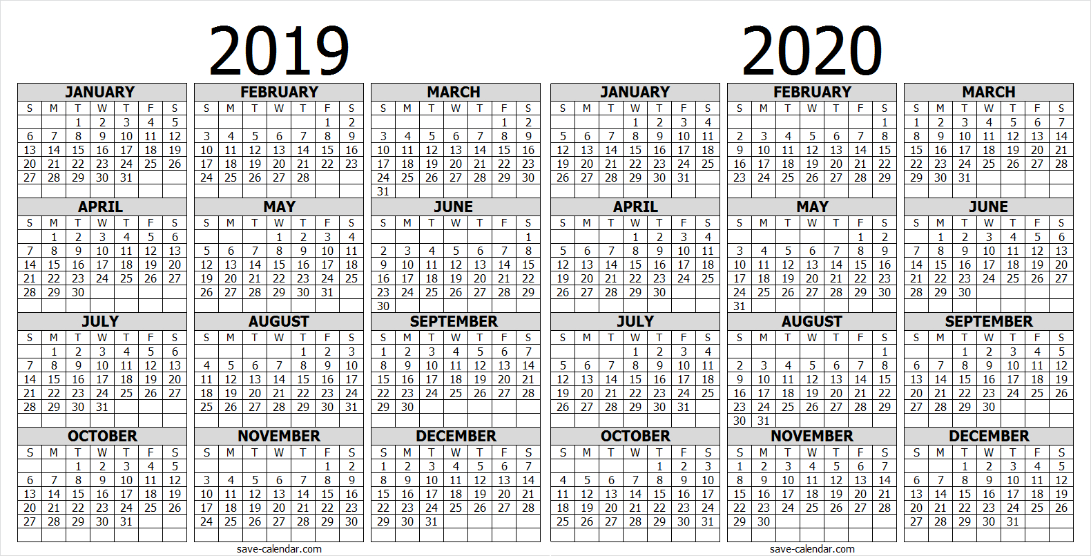 Calendar 2019 2020 One Page | 2019 Calendar | Free Calendar with Free 2020 Printable Pocket Calendar