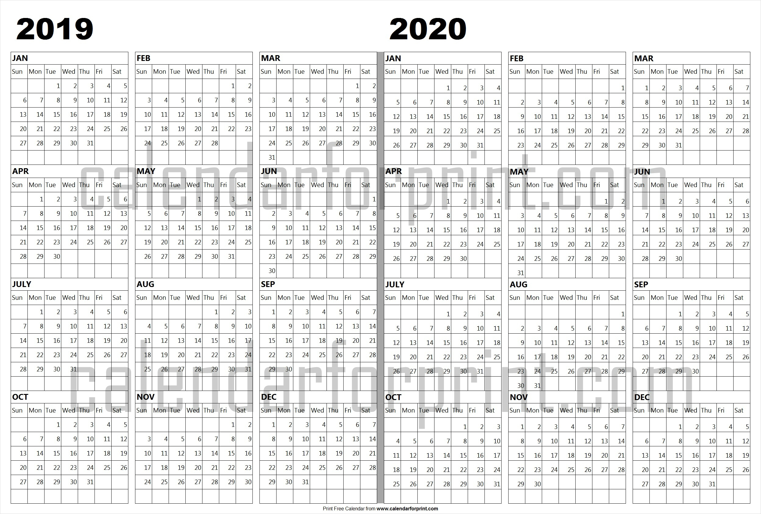 Calendar 2019 2020 Template | 2019 And 2020 Photo With Lines regarding Free Printaabke Calendars For 2019-2020