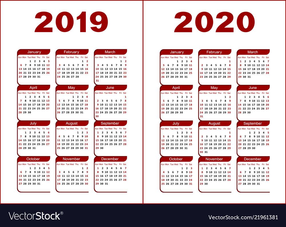 Calendar 2019 2020 throughout Calendar 2019 2020 Free Download