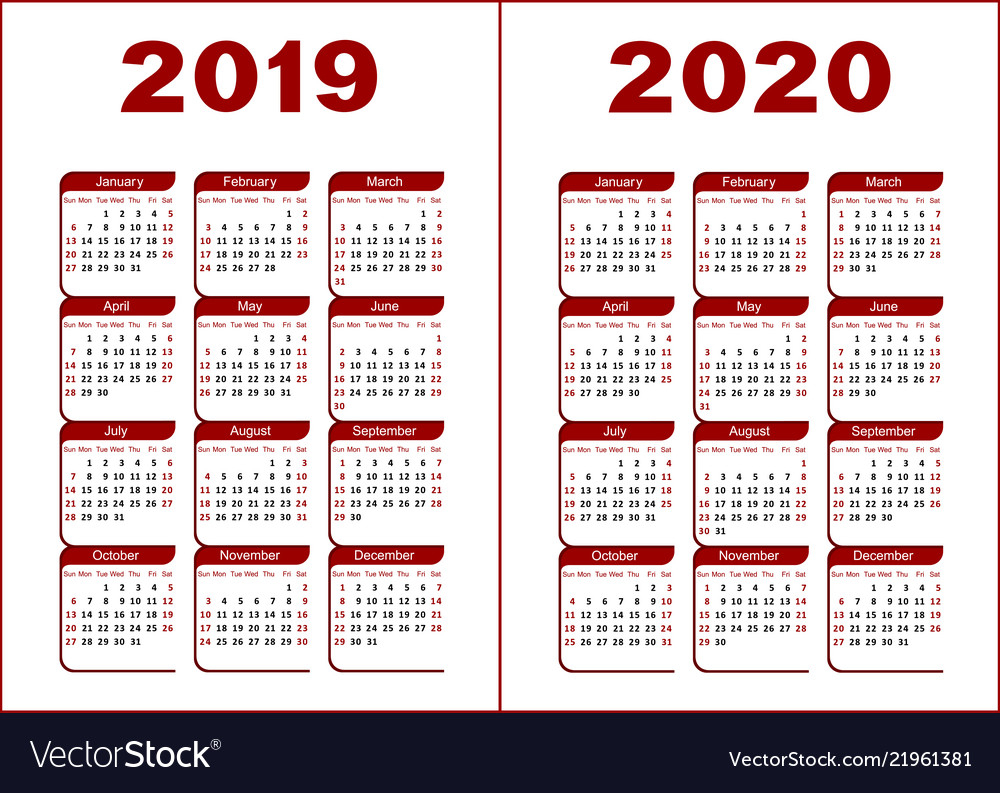 Calendar 2019 2020 with Calendar 2019 2020 With Boxes