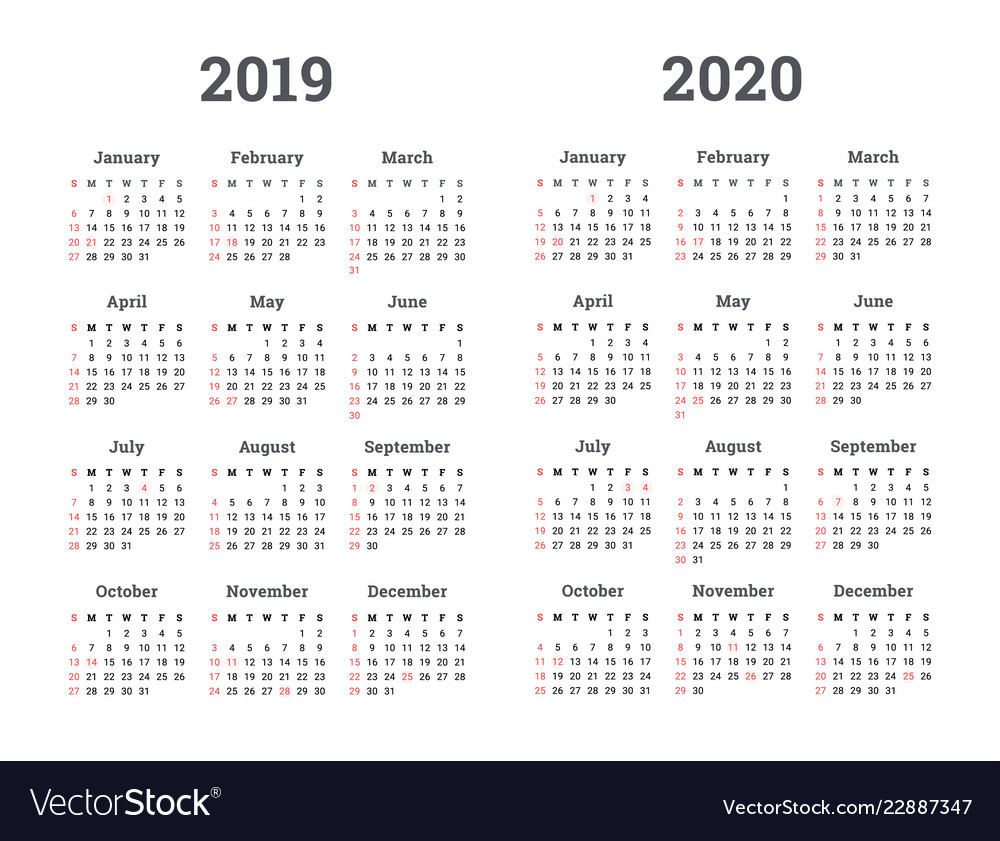 Calendar 2019 2020 Year in Calendar 2019 2020 With Boxes