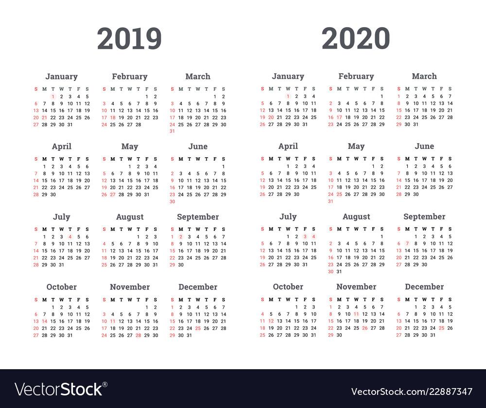 Calendar 2019 2020 Year regarding Year Calendar 2019 2020 Editable