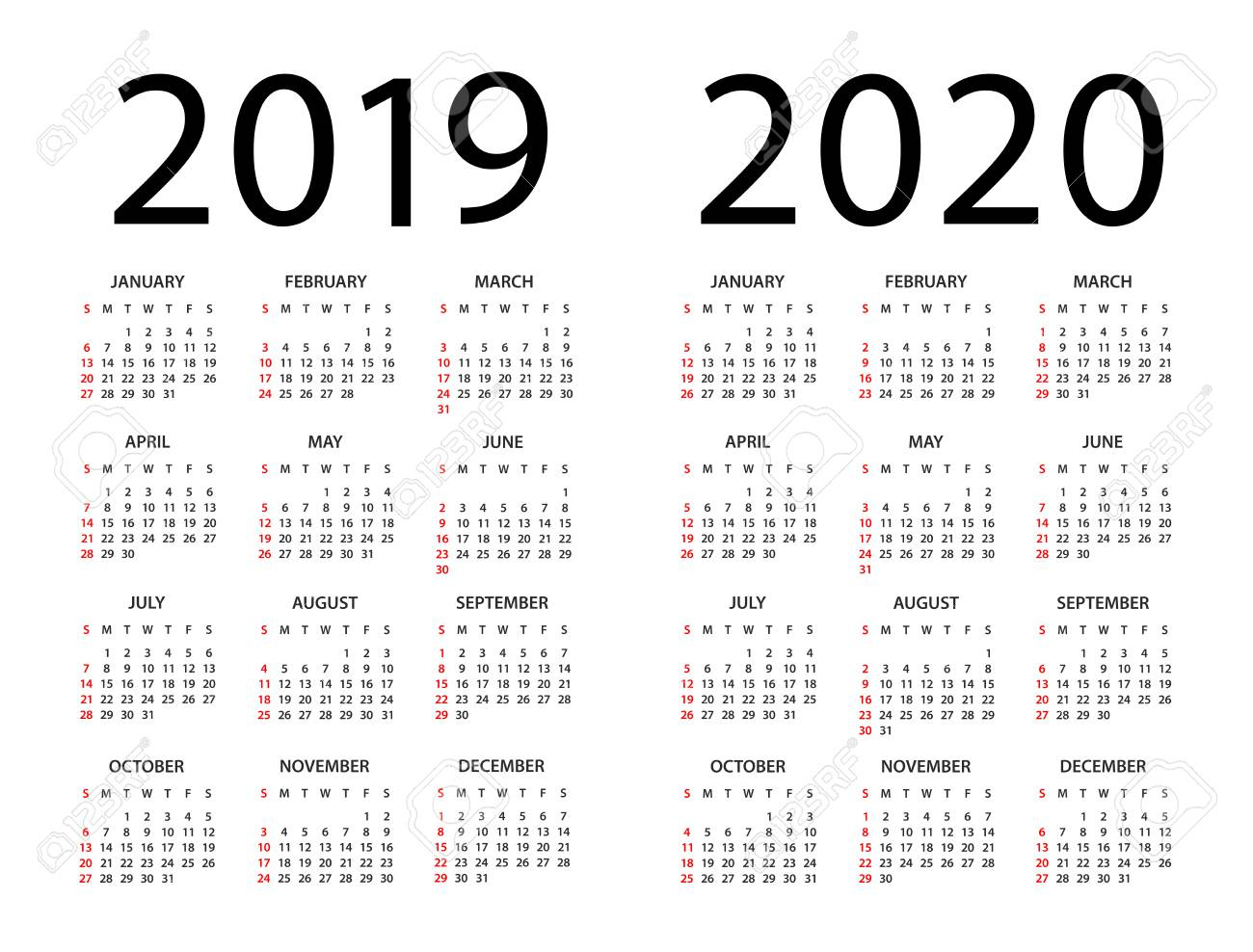 Calendar 2019 2020 Year - Vector Illustration. Week Starts On.. throughout Calendar 2019 2020 With Boxes