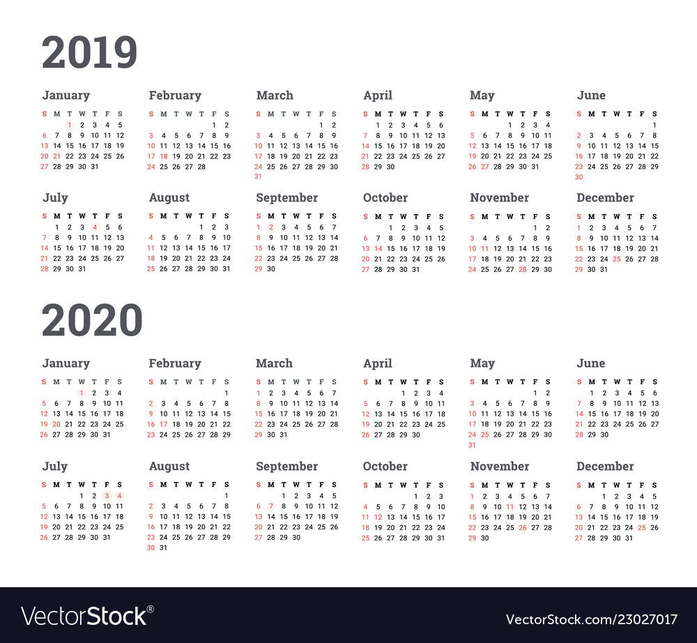 Calendar 2019 2020 Year - Wee with Year At A Glance 2019 2020 Free