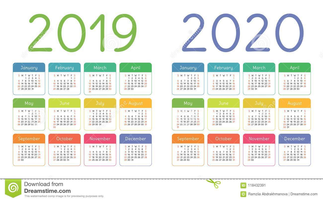Calendar 2019, 2020 Years. Colorful Calender Set. Week Starts Stock within Free Yearly 5.5 X 8.5 Calendar 2020