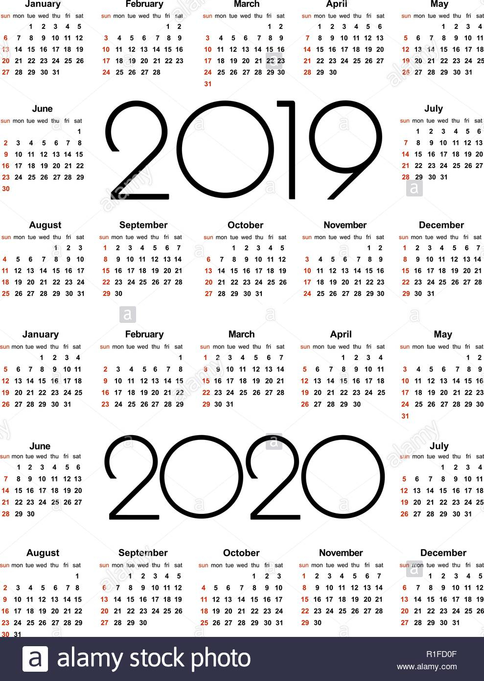 Calendar 2019 And 2020 Year. Simple Vector Template. Stationery pertaining to 2020 Printable Calendar With Sunday And Saturday Pink Color