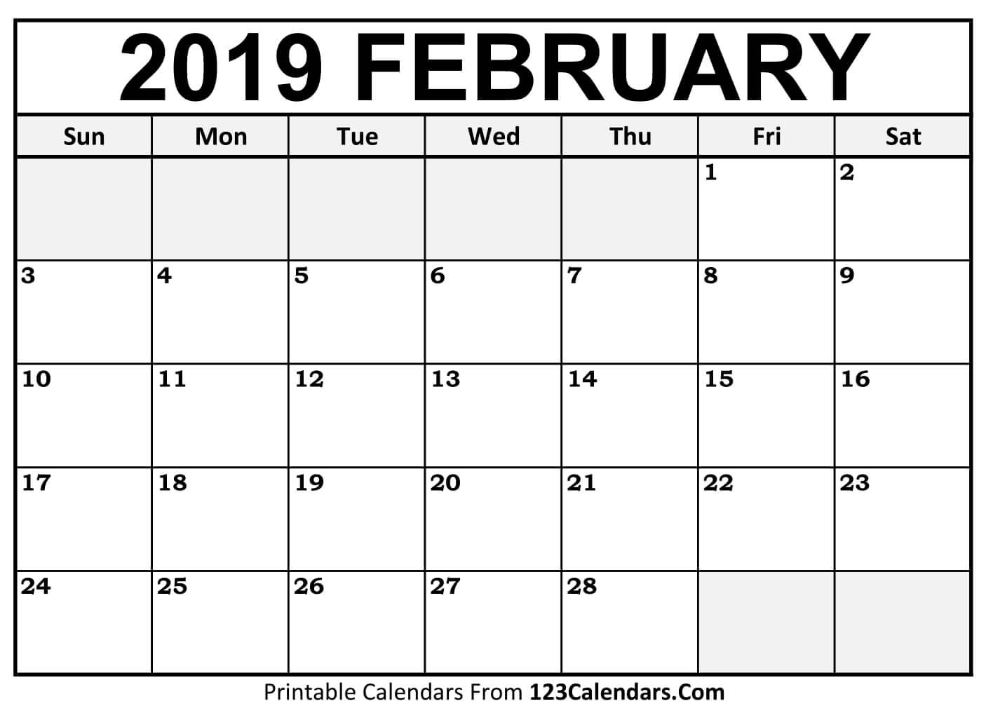 Calendar 2019 February Printable Templates - Printable Calendar 2019 intended for Blank Calendar Print-Outs Fill In With Holidays