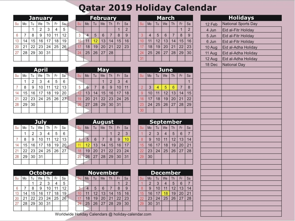 Calendar 2019 Holidays Qatar • Printable Blank Calendar Template for School Year Calendar 2019-2020 Michael E. Debakey High