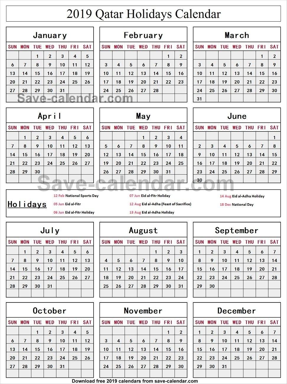 Calendar 2019 Holidays Qatar • Printable Blank Calendar Template regarding School Year Calendar 2019-2020 Michael E. Debakey High
