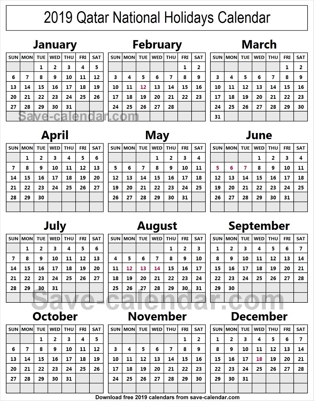 Calendar 2019 Holidays Qatar • Printable Blank Calendar Template with School Year Calendar 2019-2020 Michael E. Debakey High
