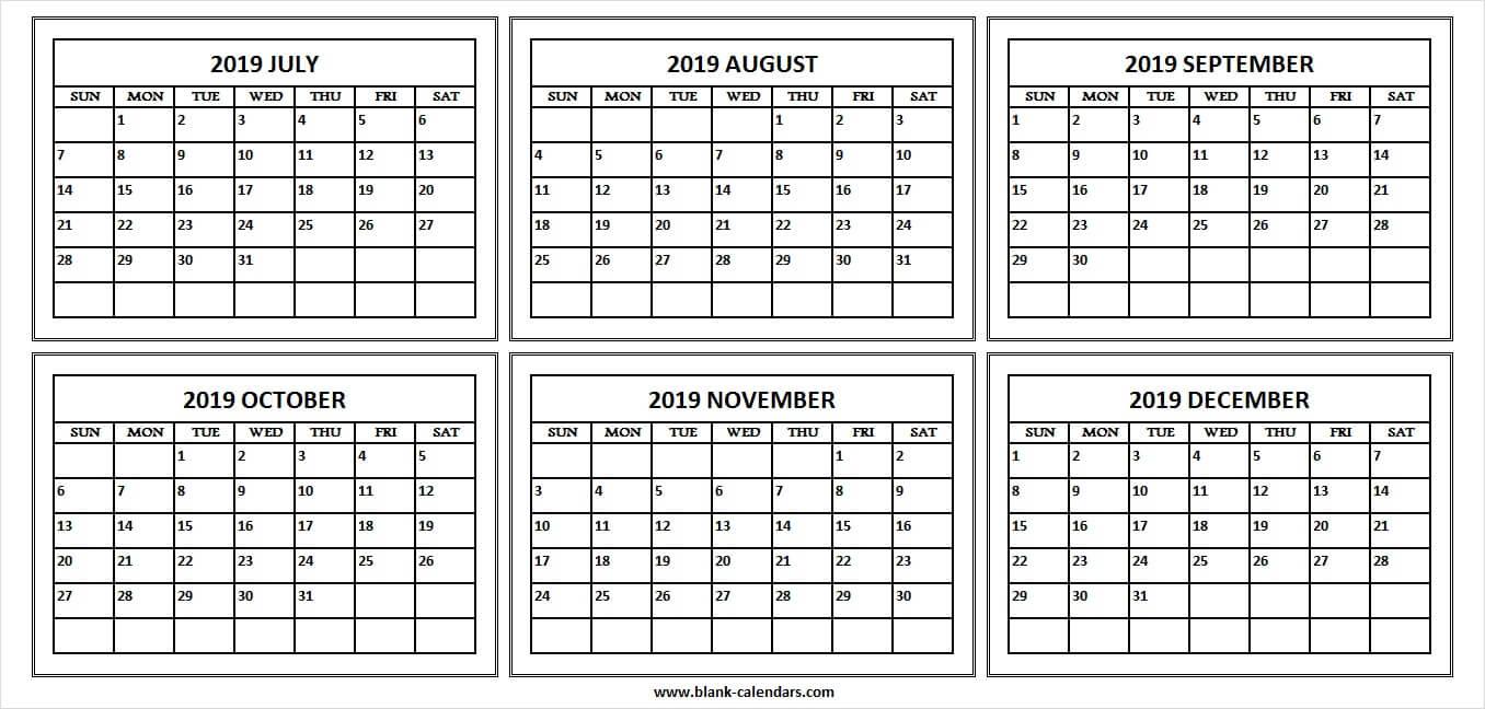Calendar 2019 July To December - Print Blank Calendar Template in July Through December Blank Calendars
