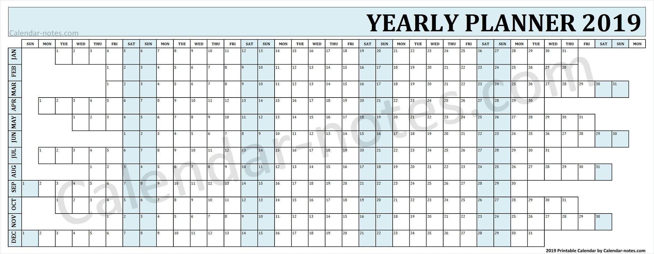 Calendar 2019 Year Planner | Yearly Planner 2019 | Calendar 2019 To with Year Printable Planner Template