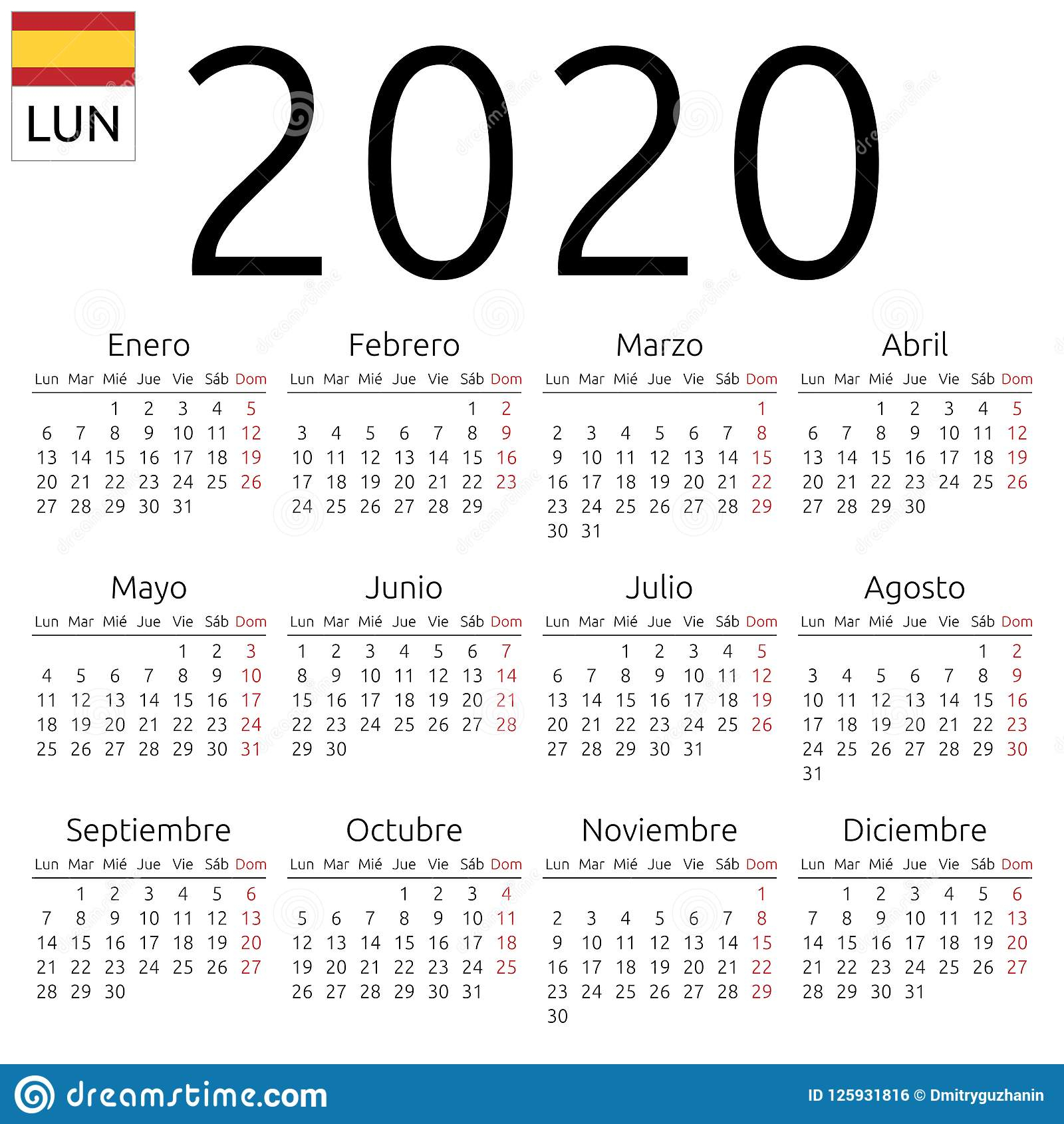 Calendar 2020, Spanish, Monday Stock Vector - Illustration Of in 2020 Calendar Monday To Sunday
