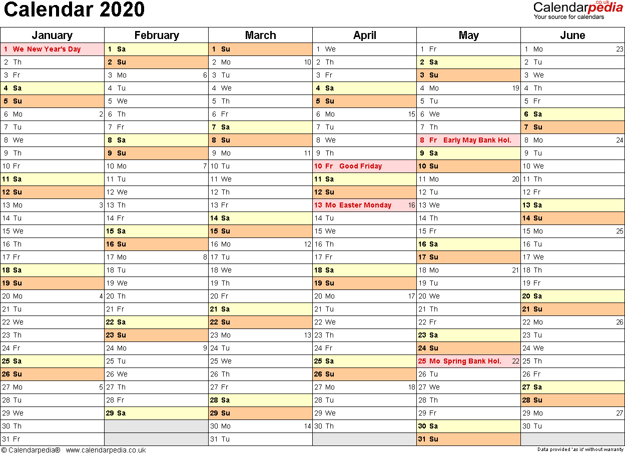 Calendar 2020 (Uk) - 16 Free Printable Pdf Templates regarding 2020 Printable Year At A Glance Calendar