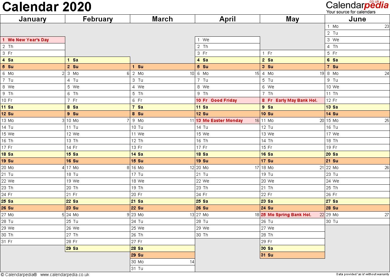 Calendar 2020 (Uk) - 16 Free Printable Pdf Templates throughout Year Planner Template Uk