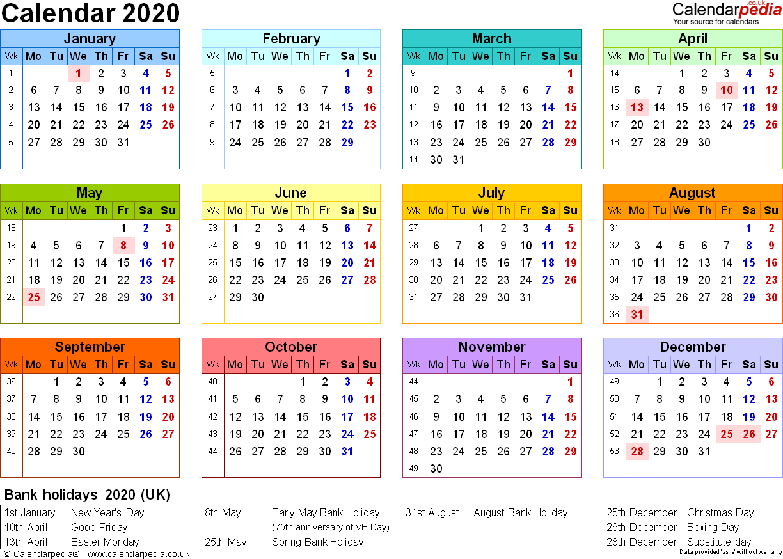 Calendar 2020 (Uk) - 16 Free Printable Pdf Templates with U Of R 2020 Calendar