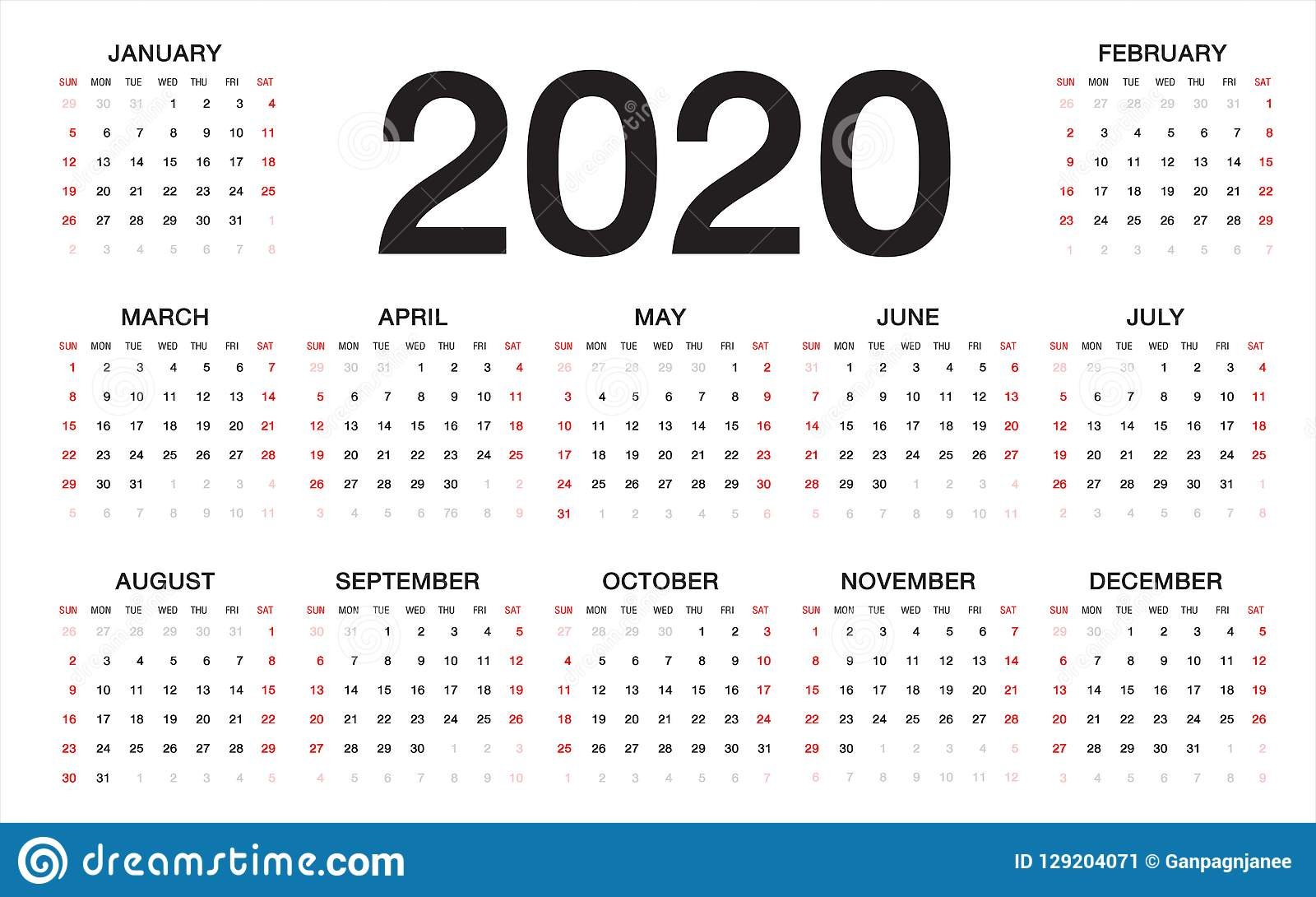 Calendar 2020, Week Starts From Sunday, Business Template Stock throughout Printable Calendar2020 Monday To Sunday
