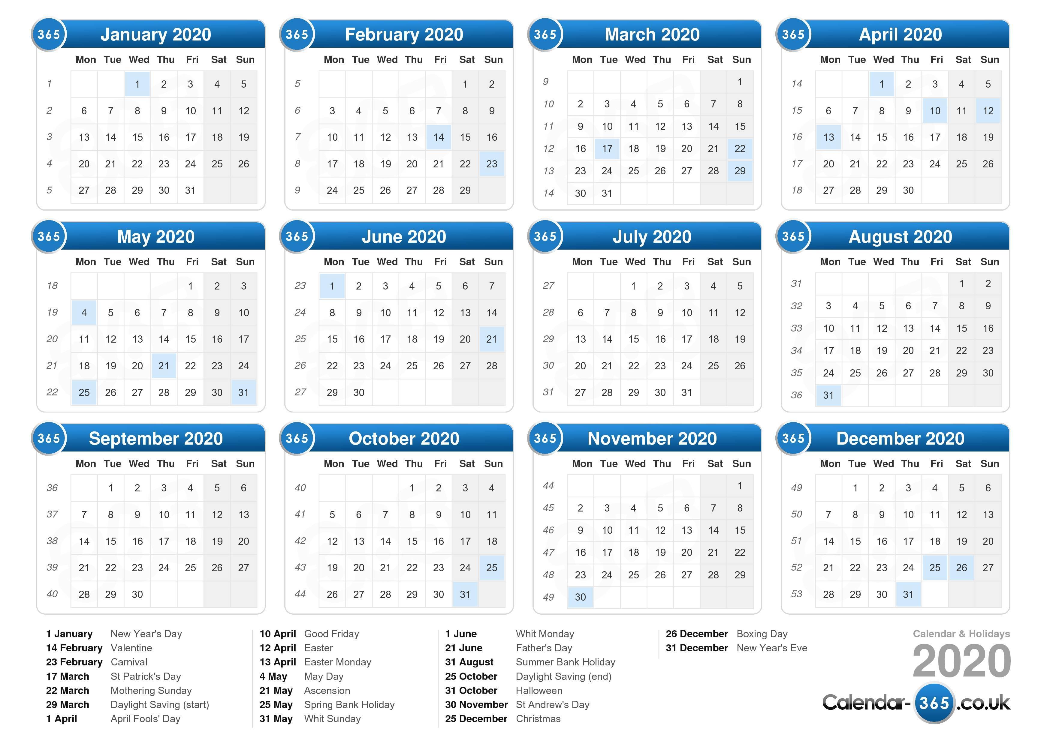 Calendar 2020 with Printable Calendar2020 Monday To Sunday