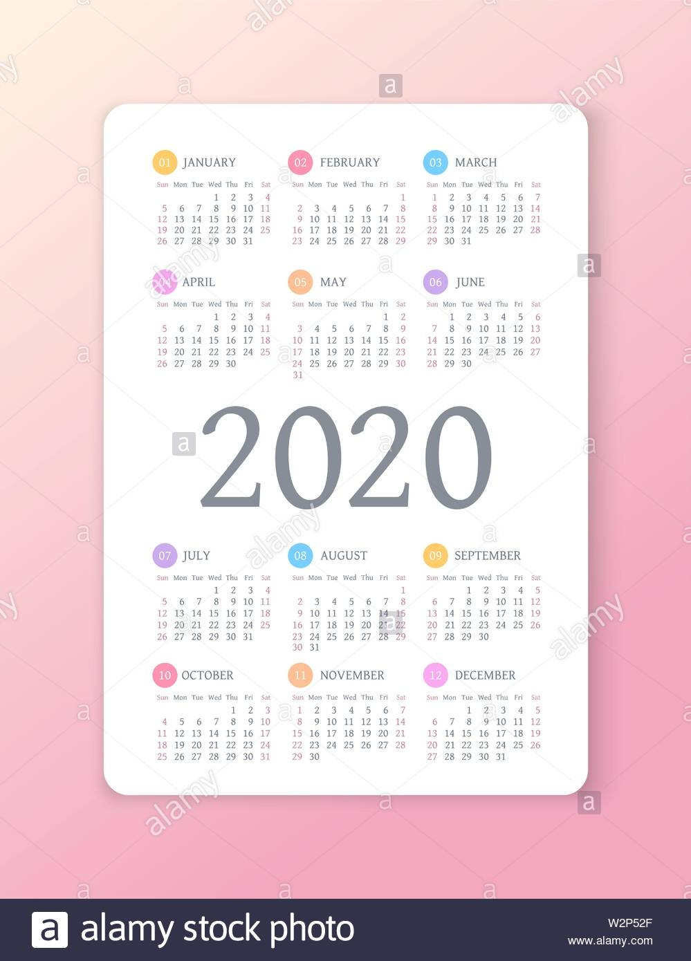 Calendar 2020 Year. Color Vector Template. Week Starts On Sunday regarding 2020 Printable Calendar With Sunday And Saturday Pink Color