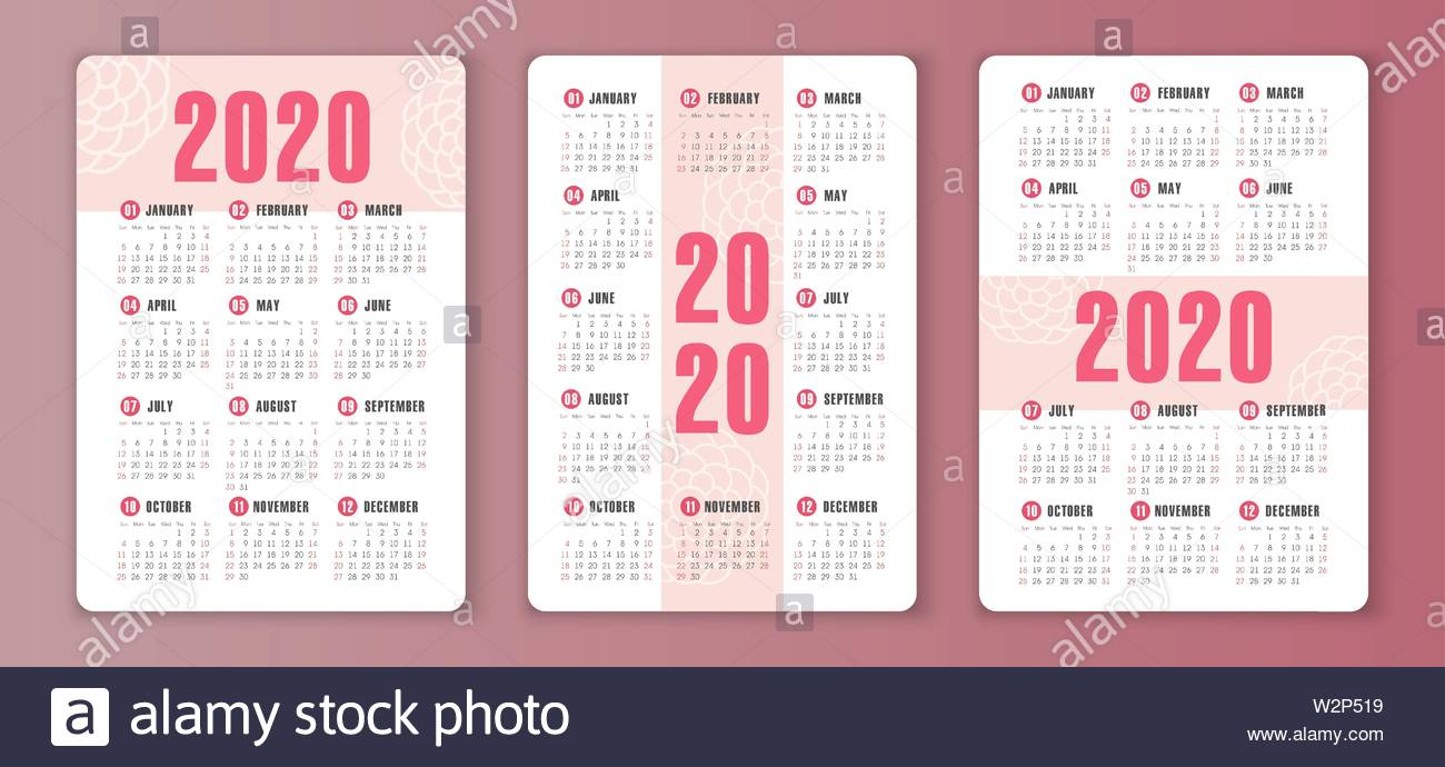 Calendar 2020 Year. Color Vector Template. Week Starts On Sunday throughout 2020 Printable Calendar With Sunday And Saturday Pink Color