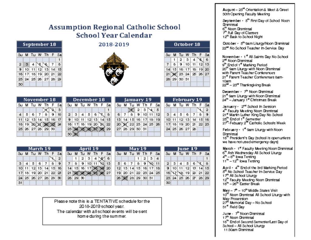 Calendar – Assumption Regional Catholic School regarding Catholic Calander For October 2019
