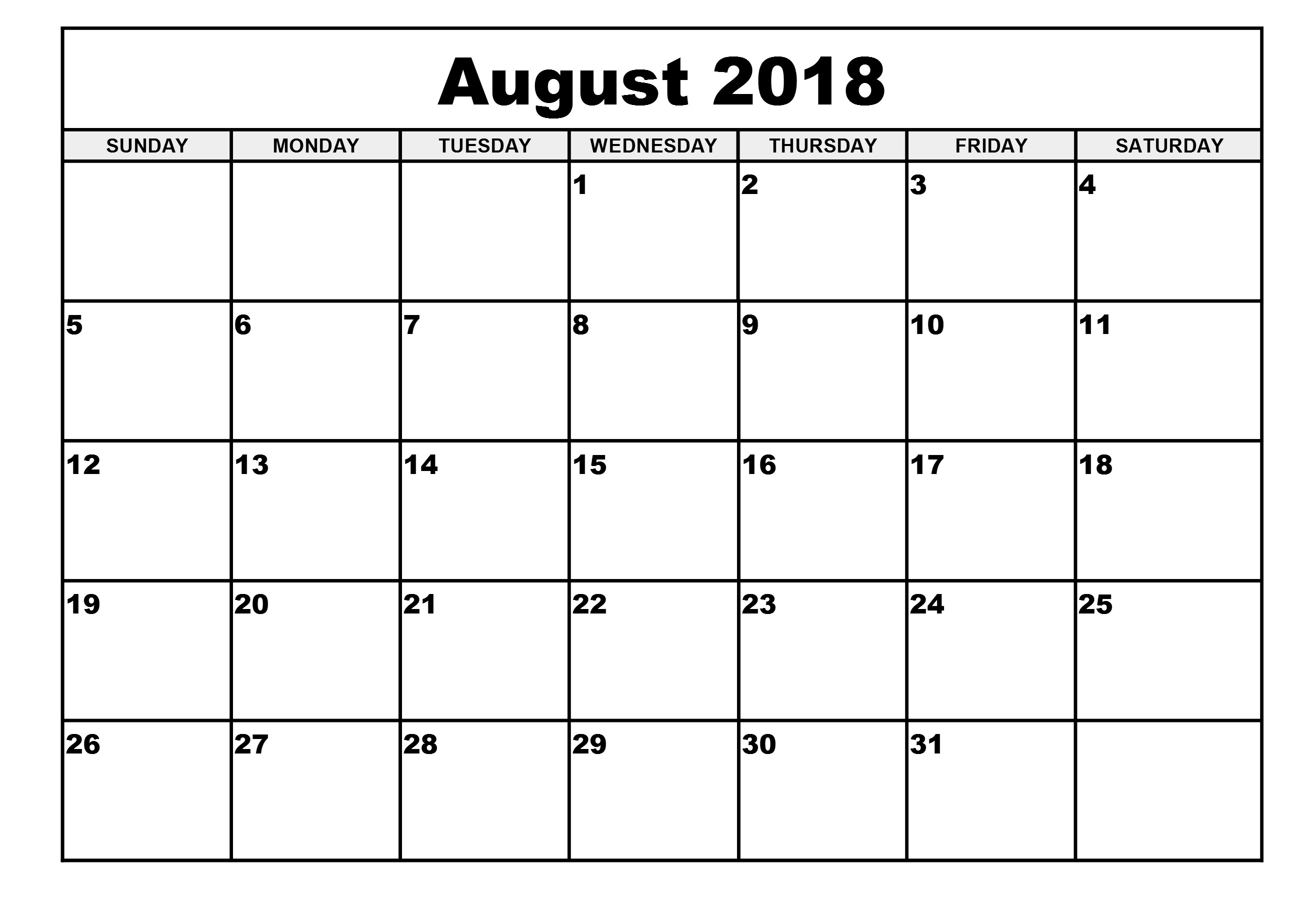 Calendar August 2018 - Free Printable Calendar, Blank Template, High regarding Blank Calendar Of August Full Page