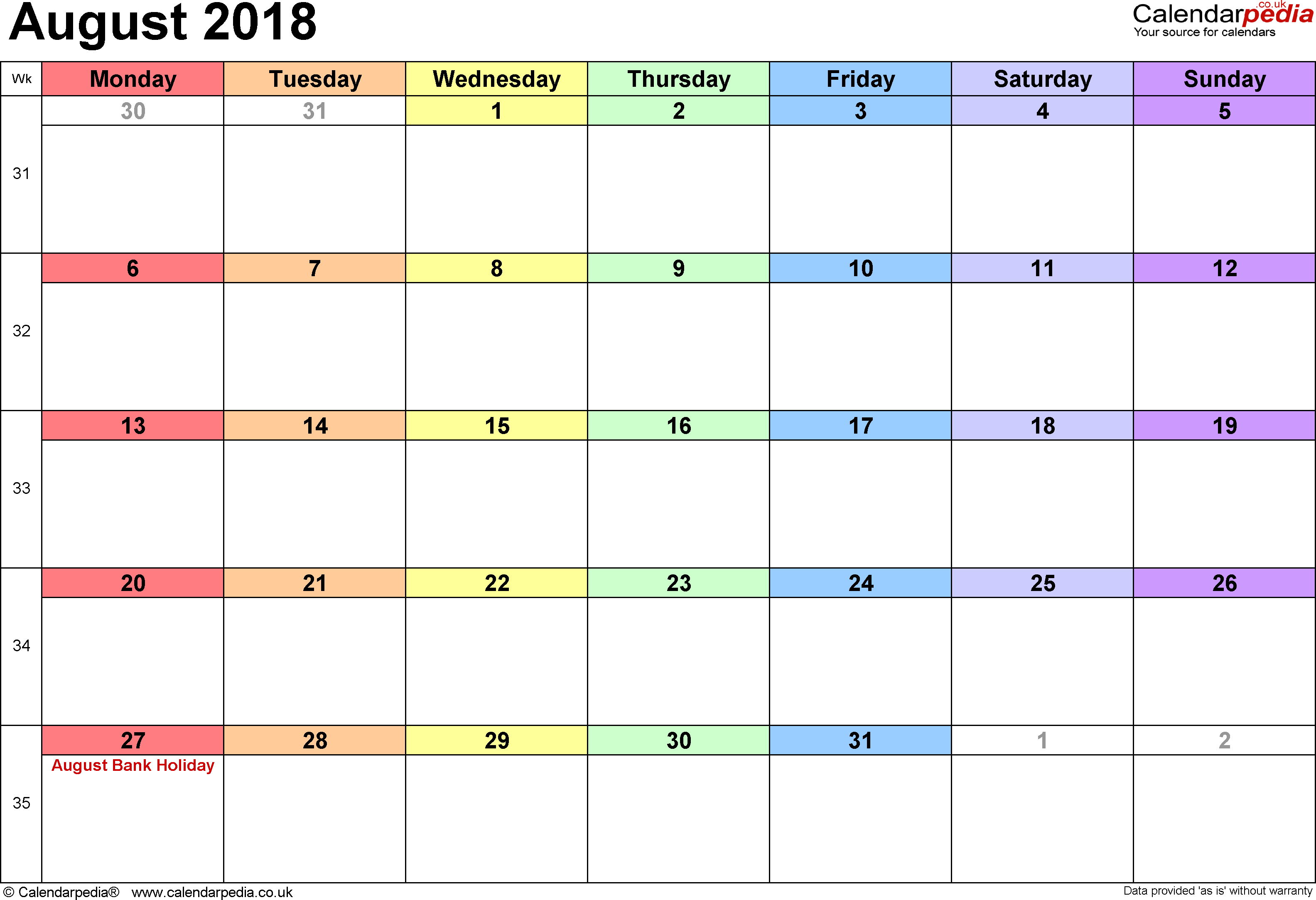 Calendar August 2018 Uk, Bank Holidays, Excel/pdf/word Templates with regard to Blank Printable Calendar Pages Aug