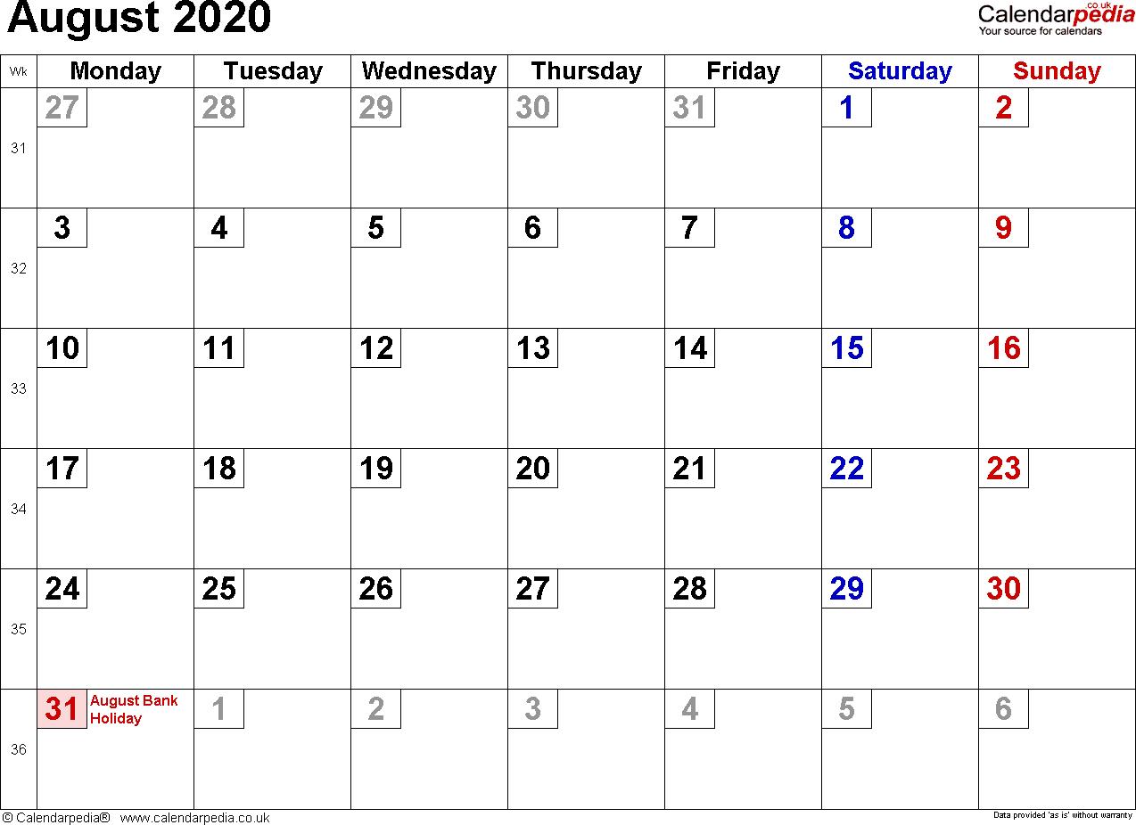 Calendar August 2020 Uk, Bank Holidays, Excel/pdf/word Templates throughout June July August 2020 Calendar