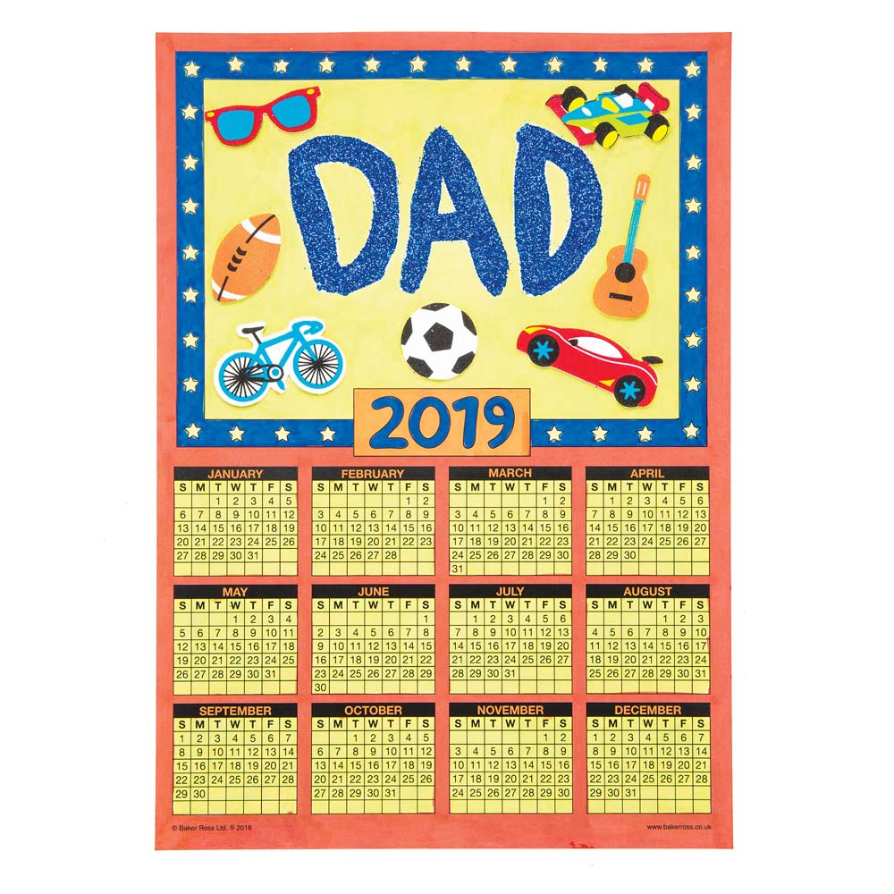 Calendar Blanks 2019 - Baker Ross with Football Theme Blank Dates Calendar