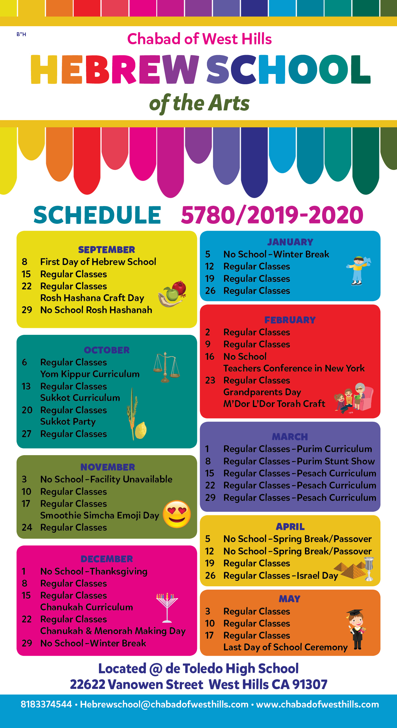 Calendar - Chabad Of West Hills for How To Create A Jweish Calender In One Page For 2019-2020